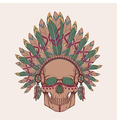 human skull in native american indian chi vector image vector image