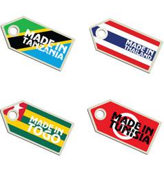 Label made in tanzania thailand togo tunisia vector