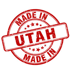 made in utah red grunge round stamp vector image vector image