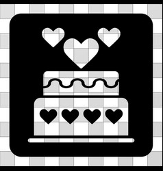 marriage cake rounded square vector image vector image