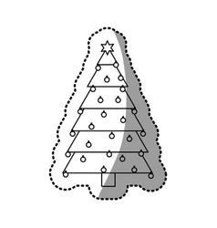 monochrome silhouette sticker of christmas tree vector image