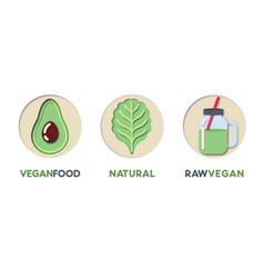 Paper cut out logo set with eco green food vector