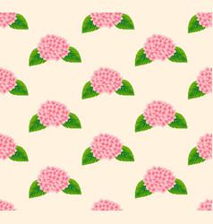Pink hydrangea flower seamless on beige ivory vector
