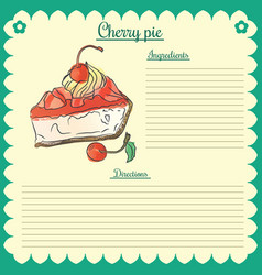 Recipe cherry pie vector