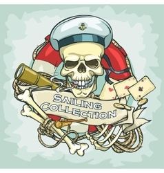Sailor skull logo design - sailing collection vector