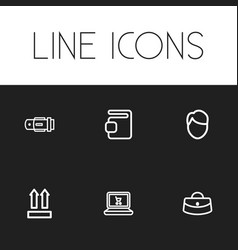 set of 6 editable shopping icons includes symbols vector image
