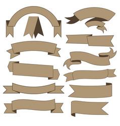 Set of cardboard ribbons vector