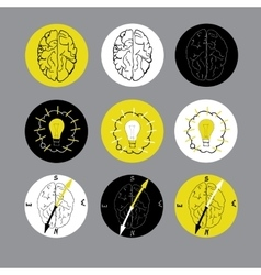 Set of flat icon with brain vector image