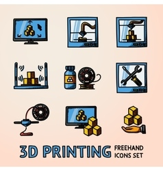 Set of handdrawn 3D Printing icons with - printers vector image
