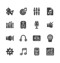 Set of solid icons for music vector image
