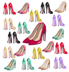 sexy lady shoes pumps pattern set colorful vector image