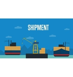 Shipment banner with container ship vector