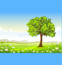 Summer landscape with tree and flowers vector