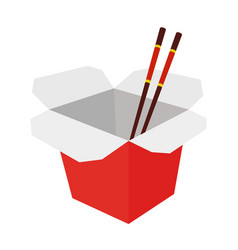 Wok box with chopsticks cartoon flat style vector