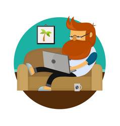 young freelancer hipster man working character vector image vector image
