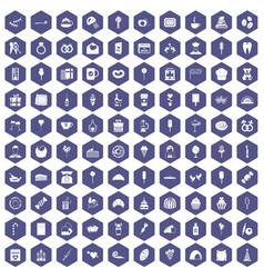 100 sweets icons hexagon purple vector