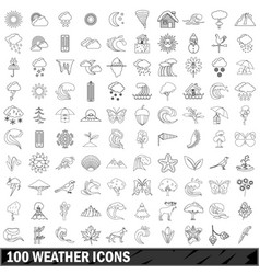 100 weather icons set outline style vector