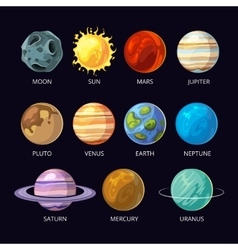 Planets of solar system cartoon set on dark vector