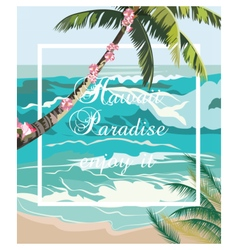 Tropical exotic summer beach waves vector