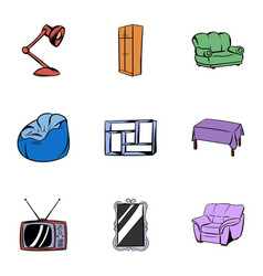 home icons set cartoon style vector image
