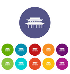 Buddha toothe relic temple in singapore set icons vector