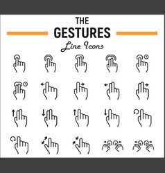 touch gesture line icon set touchscreen and hands vector image
