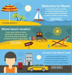 Miami landscape banner horizontal set flat style vector