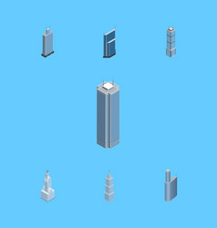 Isometric construction set of residential vector