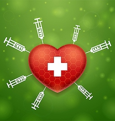Heart and cross vector
