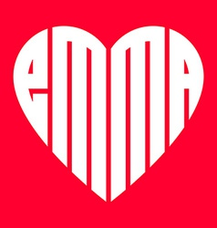 Popular female name emma and heart vector