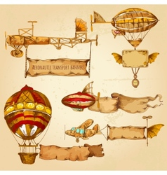Airships with banners vector
