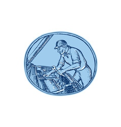 Auto mechanic automobile car repair etching vector