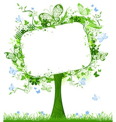 Blank tablet on spring tree vector