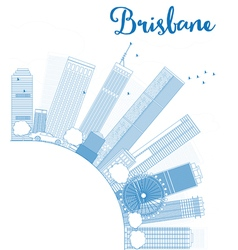 Outline brisbane skyline with blue building vector