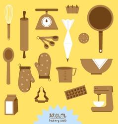 Brown bakery tools set vector