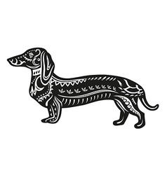 Ethnic ornamented dog vector