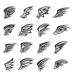 Black tribal isolated wings icons or tattoos vector image