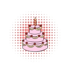 Three-tiered birthday cake with candle comics icon vector