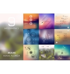 Miami infographic with unfocused background vector