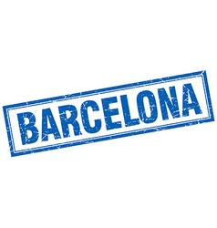 Barcelona blue square grunge stamp on white vector