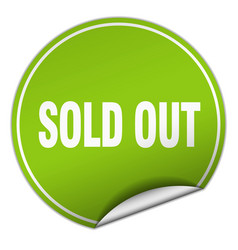 Sold out round green sticker isolated on white vector