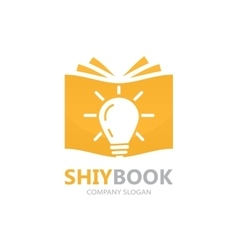 logo combination of a book and light bulb vector image