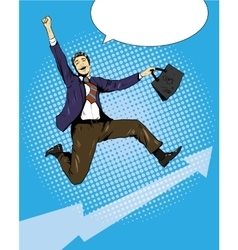 Successful businessman career growth and vector