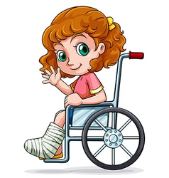 A caucasian girl sitting on a wheelchair vector