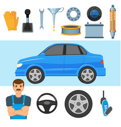 Big set of automobile parts vehicle and mechanic vector