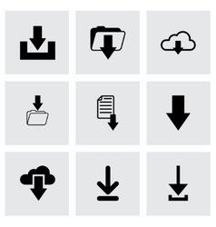 black download icon set vector image