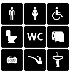 black toilet icon set vector image