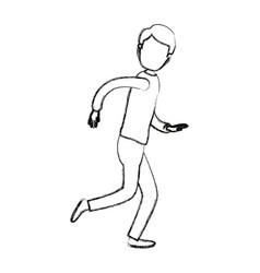 Blurred silhouette cartoon faceless full body guy vector