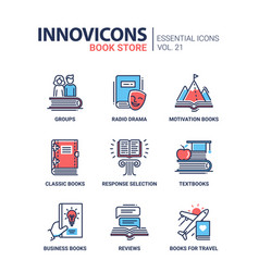 book store - modern color single line icons vector image