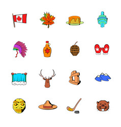 Canada icons set cartoon vector